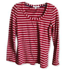Boden Red/White Striped Long Sleeve Shirt